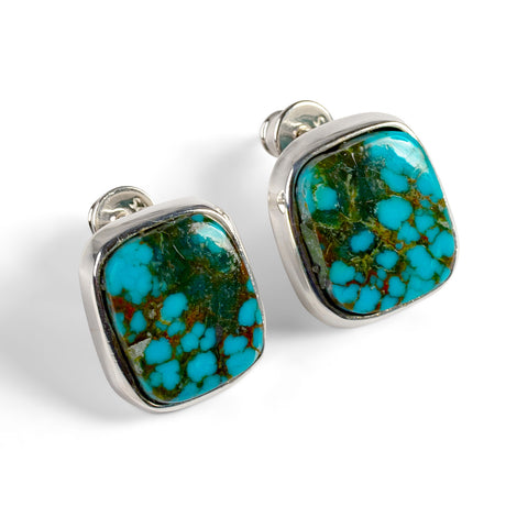 Tibetan Turquoise Square Stud Earrings-Natural Designer Gemstones
