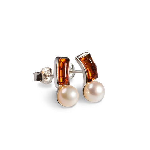 Curved Pearl Earrings in Silver and Amber