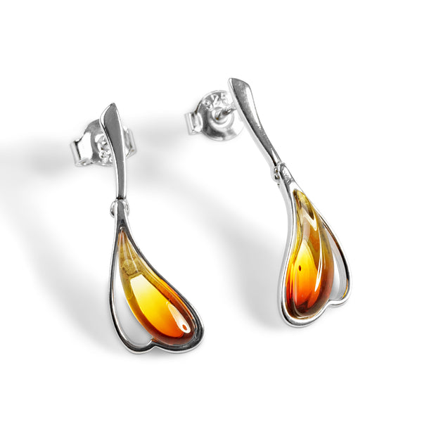 Burning Effect Earrings in Silver and Amber