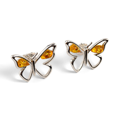 Butterfly Stud Earrings in Silver and Yellow Amber