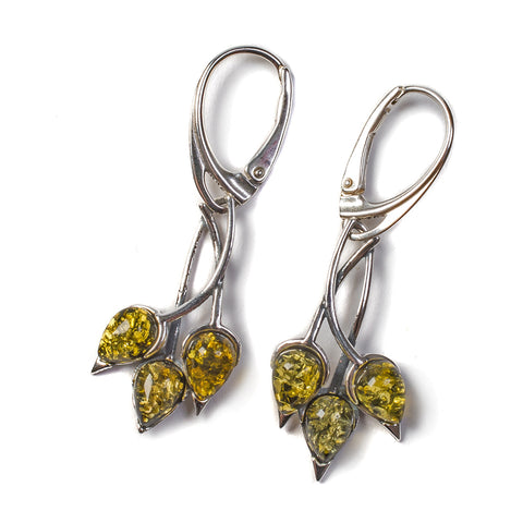 Beech Leaf Earrings in Silver and Green Amber