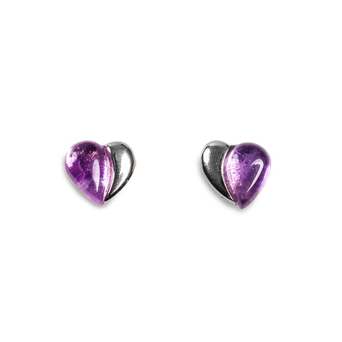 Miniature Heart Earrings in Silver and Amethyst