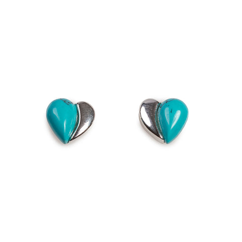 Miniature Heart Stud Earrings in Silver and Turquoise