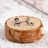 Miniature Dachshund Sausage Dog Stud Earrings in Silver