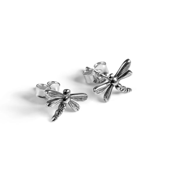 Miniature Dragonfly Stud Earrings in Silver