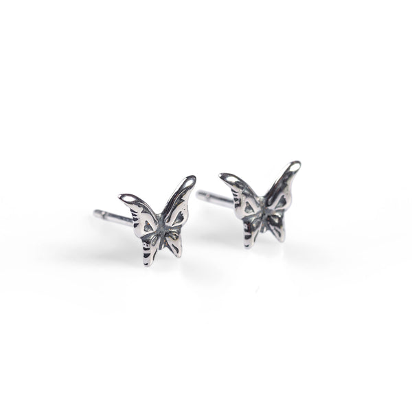 Miniature Butterfly Stud Earrings in Silver