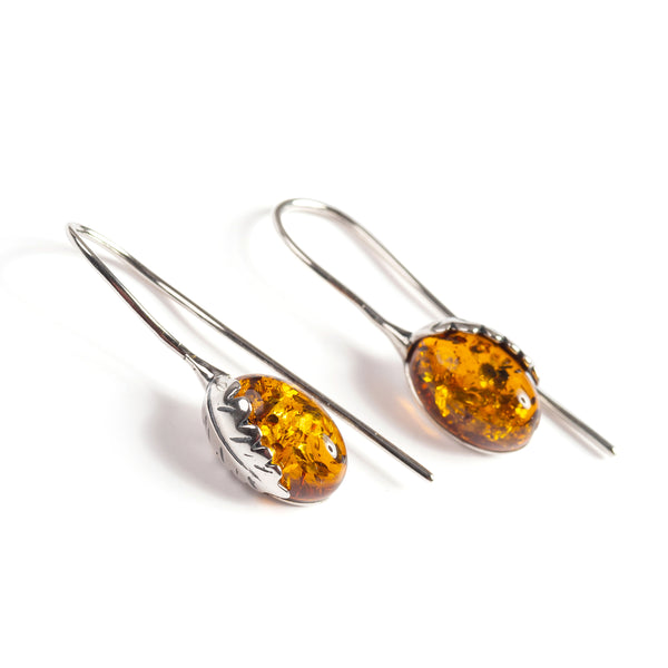 Oak Leaf Hook Earrings in Silver and Amber