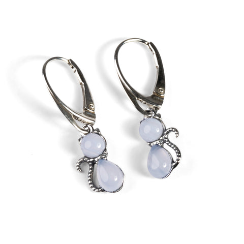 Cute Cat Drop Earrings in Silver and Blue Lace Agate