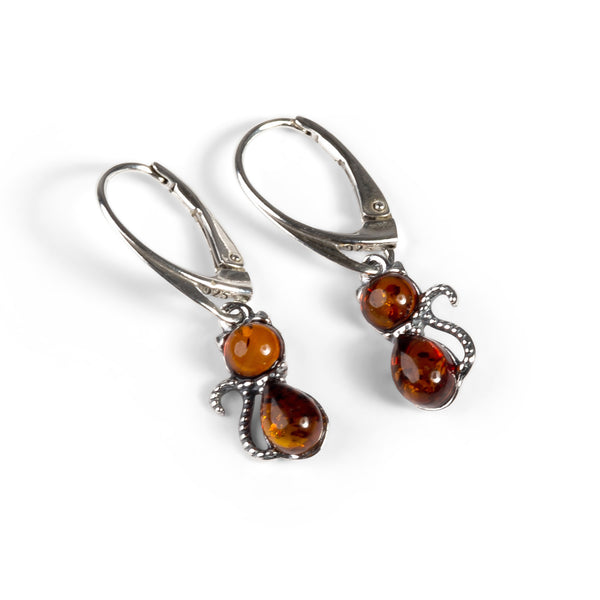 Cute Cat Drop Earrings in Silver and Amber
