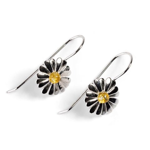 Daisy Hook Earrings in Silver and Amber
