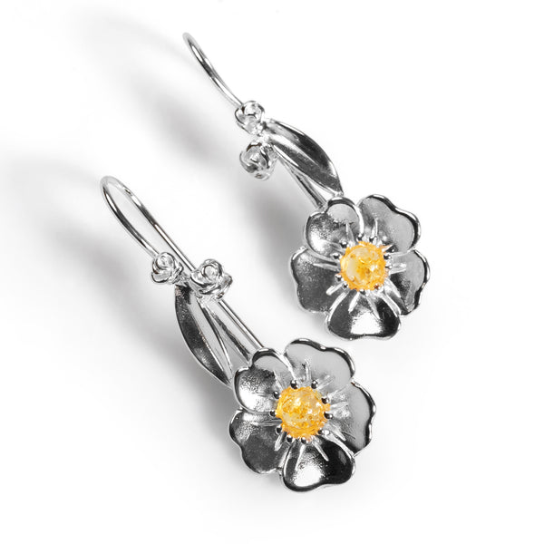 Beautiful Buttercup Hook Earrings in Silver and Yellow Amber