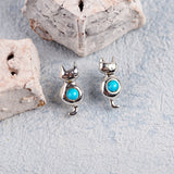 Sitting Cat Stud Earrings in Silver and Turquoise