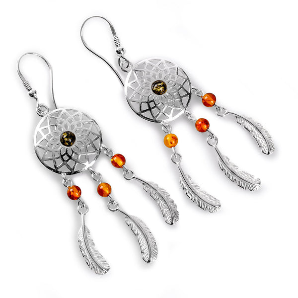 Dreamcatcher Drop Earrings in Silver and Amber