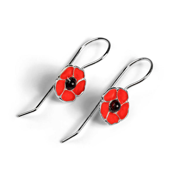 Handpainted Poppy Flower Drop Earrings in Silver and Amber