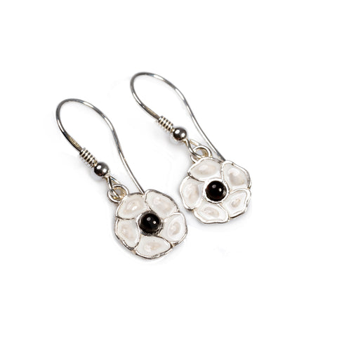 Limited Edition White Peace Poppy Drop Earrings in Silver