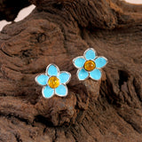 Handpainted Forget Me Not Stud Earrings in Silver and Amber