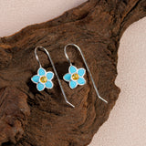Handpainted Forget Me Not Drop Earrings in Silver and Amber