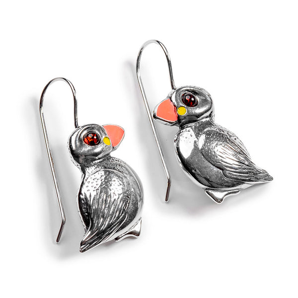 Puffin Bird Drop Earrings in Silver and Amber