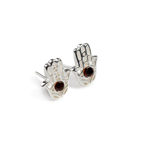 Hamsa Hand Stud Earrings in Silver and Cognac Amber