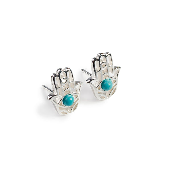 Hamsa Hand Stud Earrings in Silver and Turquoise