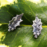 Holly Leaf Stud Earrings in Silver