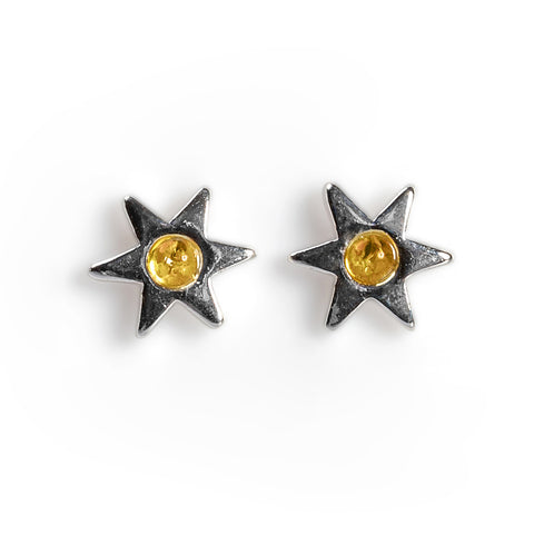 Little Star Stud Earrings in Silver and Yellow Amber