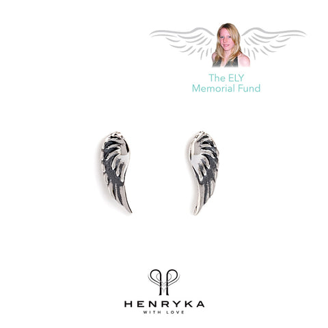 Angel Wing Stud Earrings in Silver
