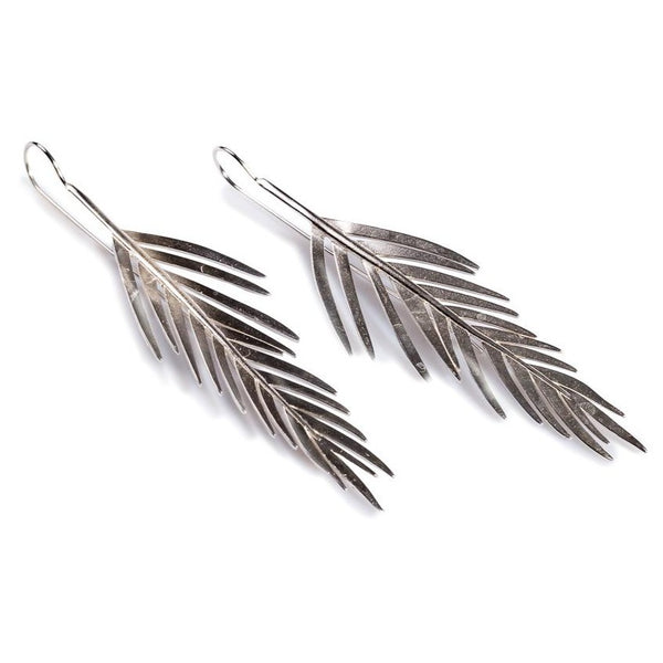 Large Areca Palm Leaf Drop Earrings in Silver