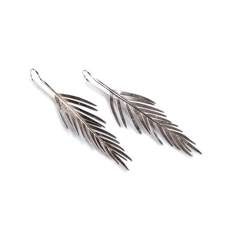 Small Areca Palm Leaf Drop Earrings in Silver