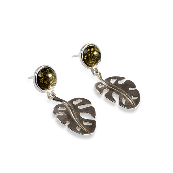 Split Leaf Palm Drop Earrings in Silver and Green Amber