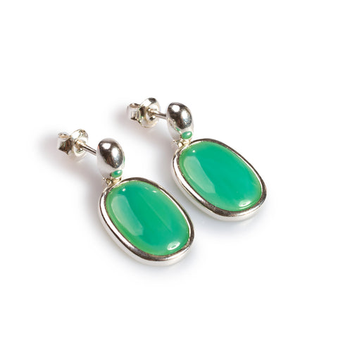 Pastel Green Single Drop Earrings Set in Silver