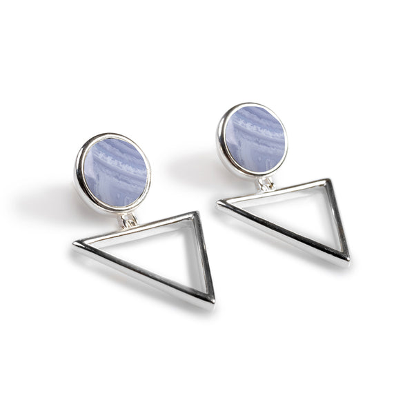 Triangle Drop Earrings in Silver and Blue Lace Agate