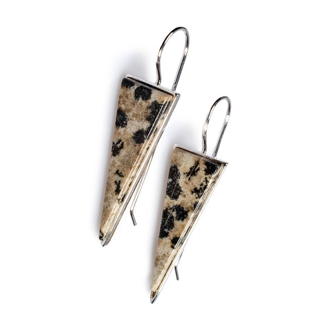 Dalmatian Jasper Triangle Earrings Set in Silver