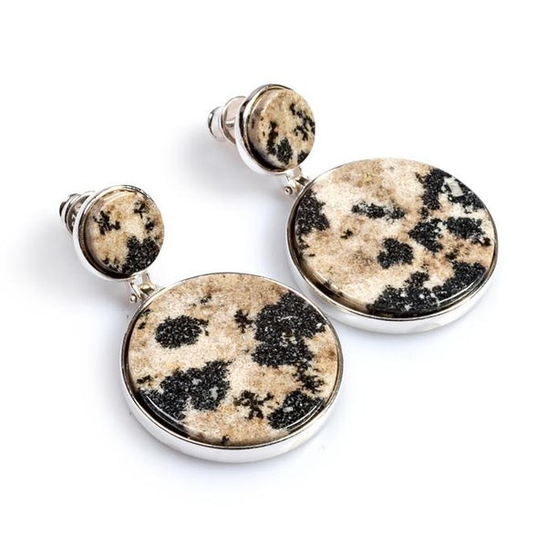 Statement Double Circle Earrings in Silver and Dalmatian Jasper