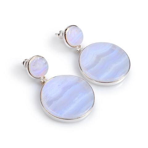 Statement Double Circle Earrings in Silver and Blue Lace Agate