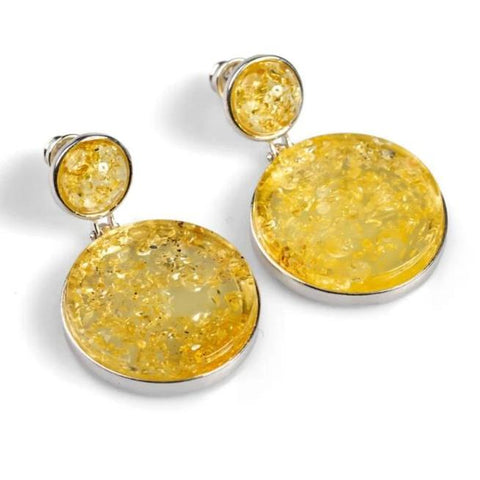 Small Double Circle Earrings in Silver and Amber