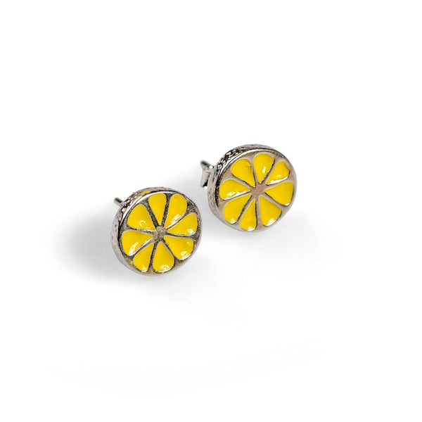 Handpainted Lemon Slice Stud Earrings