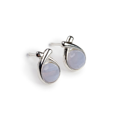 Sealed With A Kiss Stud Earrings in Silver and Blue Lace Agate