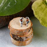 Parrot Stud Earrings in Silver and Cognac Amber
