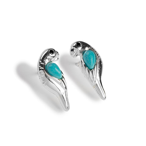 Parrot Stud Earrings in Silver and Turquoise