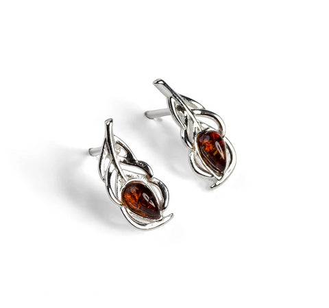 Miniature Peacock Feather Stud Earrings in Silver and Amber
