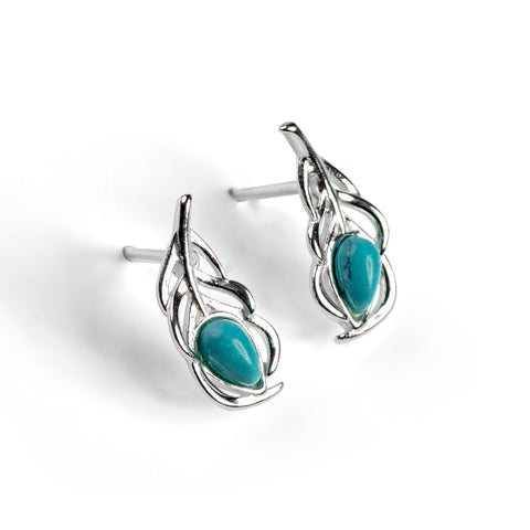 Miniature Peacock Feather Stud Earrings in Silver and Turquoise