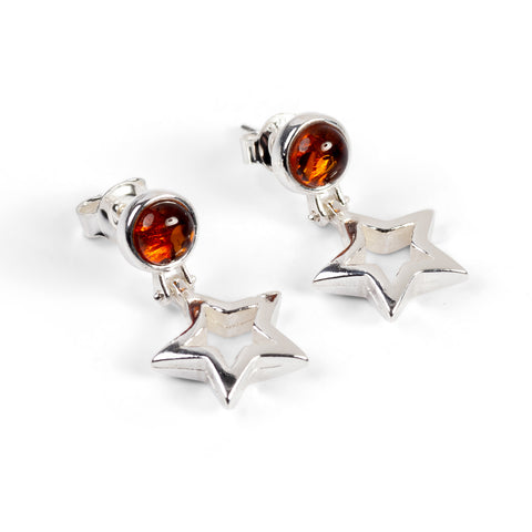 Floating Star Drop Earrings in Silver and Amber