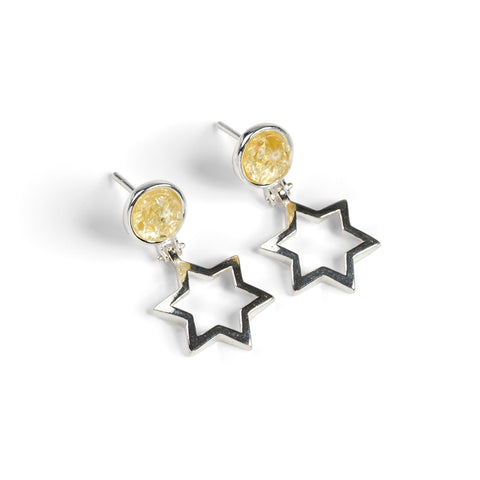 Star Stud Drop Earrings in Silver and Amber