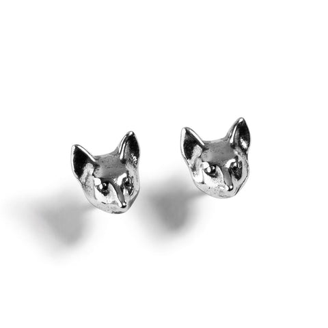 Fox Head Stud Earrings in Silver