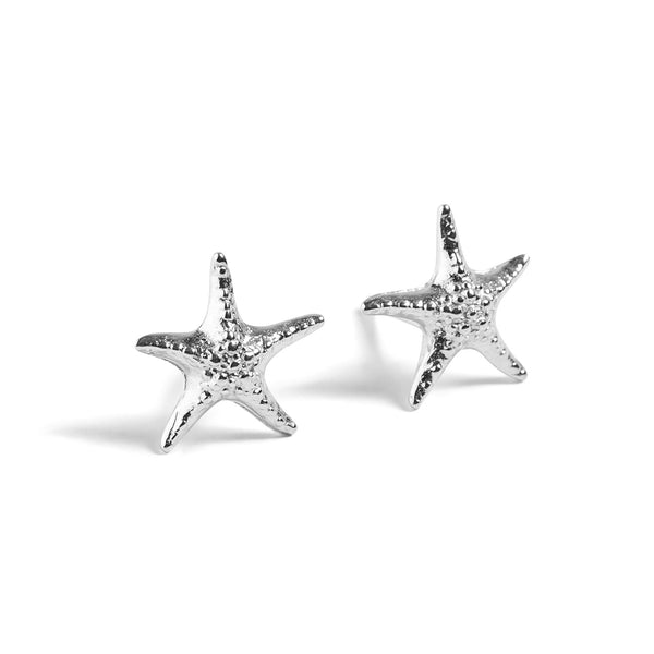 Starfish Stud Earrings in Silver