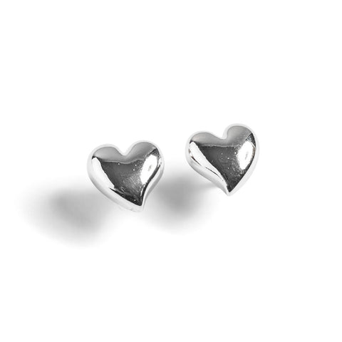 Floating Heart Stud Earrings in Silver