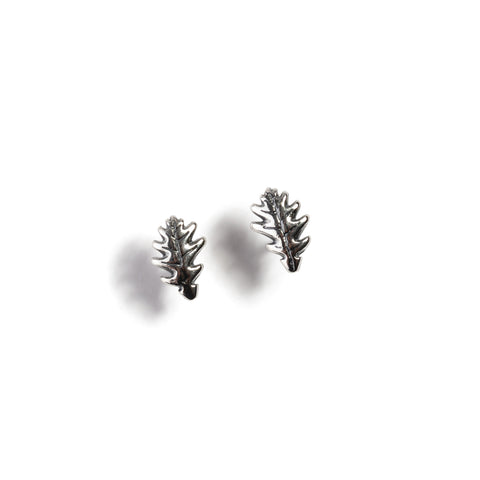 Oak Leaf Stud Earrings in Silver
