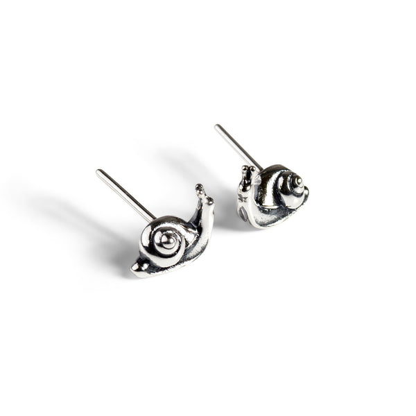 Sweet Snail Stud Earrings in Silver