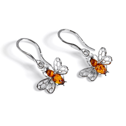 Tiny Honey Bee Drop Earrings in Silver and Amber